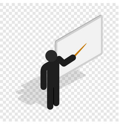 teacher near the blackboard with pointer icon vector image