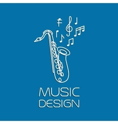 Music design with alto saxophone vector image vector image