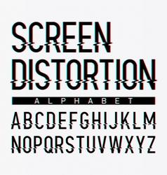 Screen distortion alphabet vector image