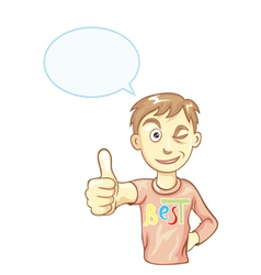 Boy with thumbs up vector image vector image
