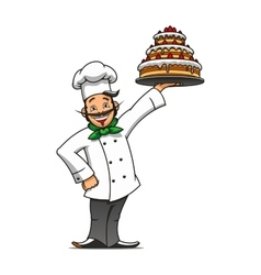 Cartoon french chef with chocolate cake vector image vector image