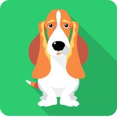 dog Basset Hound sitting icon flat design vector image