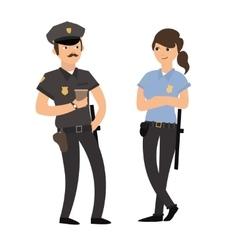 Policeman and Policewoman in Uniform vector image