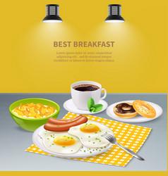 realistic breakfast background vector image