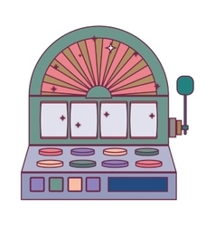 silhouette color slot machine with button panel vector image