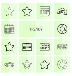 14 trendy icons vector image