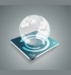 3d business abstract background - glass globe vector image