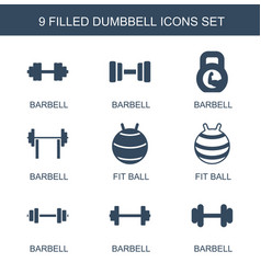 9 dumbbell icons vector