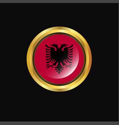 Albania flag golden button vector