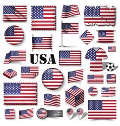 america flag set various shape element vector image