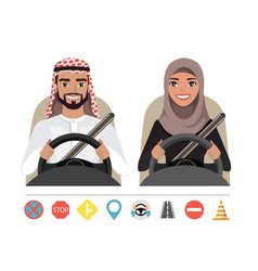 arab man and arab woman driving a car silhouette vector image