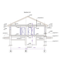 architectural section of a one-storey residential vector image