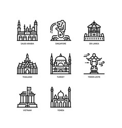 Asian cities and counties landmarks icons set 5 vector