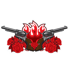 banner with two old revolvers fire and red roses vector image