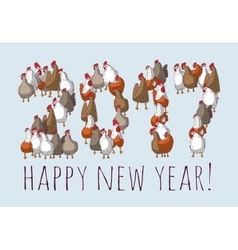 Big group sign chicken new year greeting card vector image