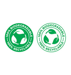biodegradable recyclable icon 100 percent bio vector image