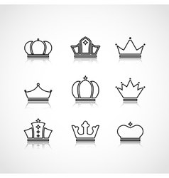 Black crowns shapes vector