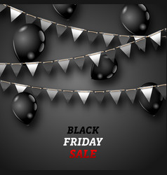 black friday wallpaper with shiny balloons and vector image