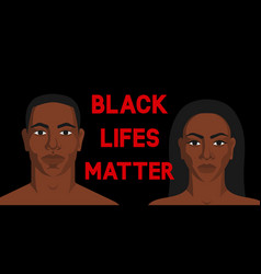 black man and woman black lives matter poster vector image
