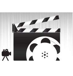 Black movie clapperboard and camera icon vector