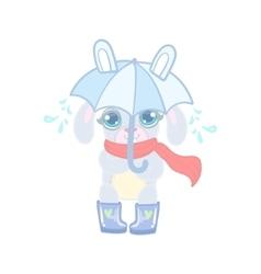 Bunny With Umbrella Under Rain vector