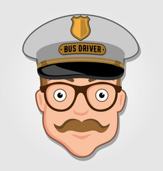 bus driver cartoon face with glasses vector image