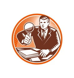 Businessman Magnifying Glass Looking Documents vector
