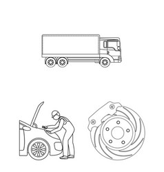 Car lift pump and other equipment outline icons vector