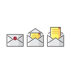 Color line envelope mail icon colorful flat vector