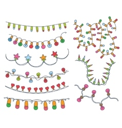 Colorful Garlands and Bulbs vector