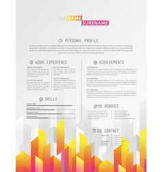 creative simple cv template with colorful stripes vector image