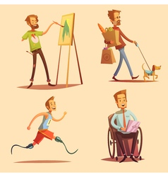Disabled people retro cartoon 2x2 icons set vector