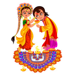 Diwali holiday and bhai dooj day religious rite vector