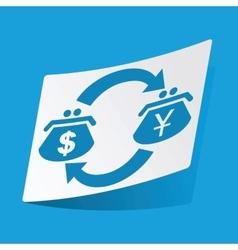 Dollar-yen exchange sticker vector