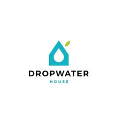 drop water eco house logo icon vector image