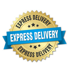 Express delivery 3d gold badge with blue ribbon vector