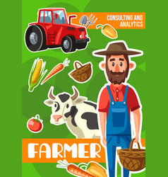 Farmer consulting and analytics agriculture vector