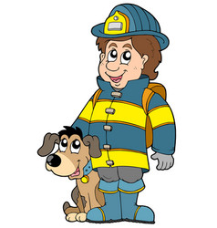 Firefighter with dog vector