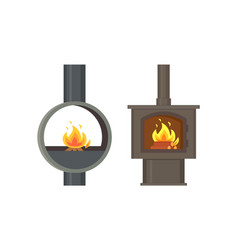 fireplace old style stoves with burning logs set vector image