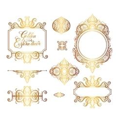 Floral golden eastern decor frame elements vector