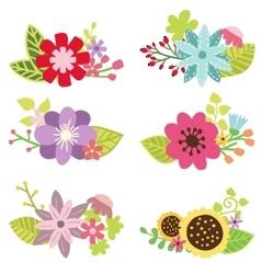 Floral set flower design elements vector image