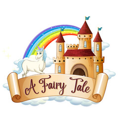 Font design for word a fairy tale with unicorn by vector