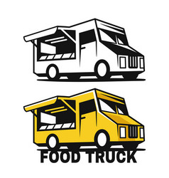 food truck emblem black and color on a white vector image