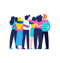 Friend group hug of diverse people isolated vector