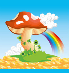 fungus with clovers plants and rainbow with coins vector image