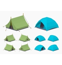 Green and sky-blue camping tents vector