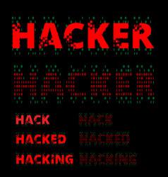 hacker wordmark symbol set vector image