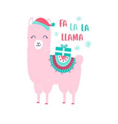 hand drawing print design llama and slogan vector image