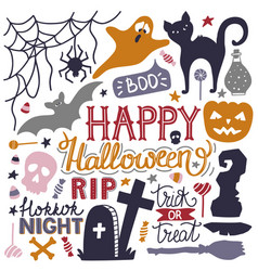 hand drawn halloween colorful doodles print with vector image