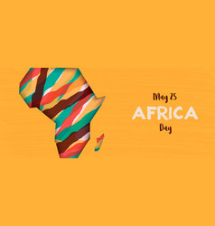 Happy africa day banner african paper cut map vector